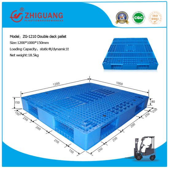 EU Standard Pallet 12001000150mm Heavy Duty Grid Double Deck HDPE Plastic For Warehouse Products ZG 1210