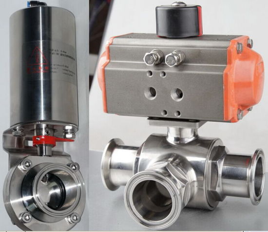 Stainless Steel Three Way Pneumatic Clamped Electric Ball Valve