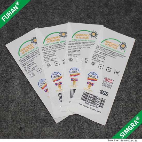 Custom Tyvek Paper Printed Care Label pictures & photos