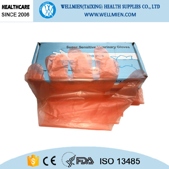 Disposable Long Sleeve Plastic Slaughtering Glove pictures & photos