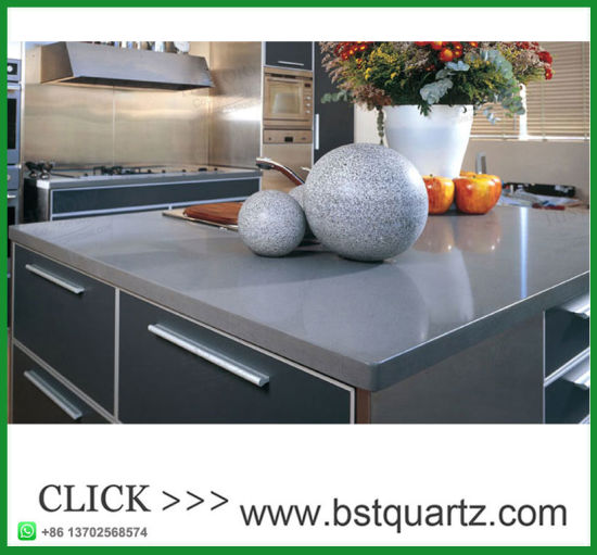 Misty Grey Quartz Stone Pefab Laminate Kitchen Island Countertop