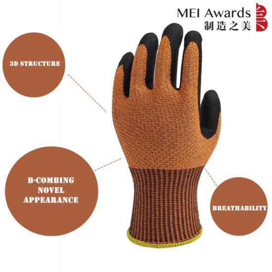 Honeycomb Design Anti Slip Labor Protection Industrial Handjob Foam Nitrile Gloves Work Gloves