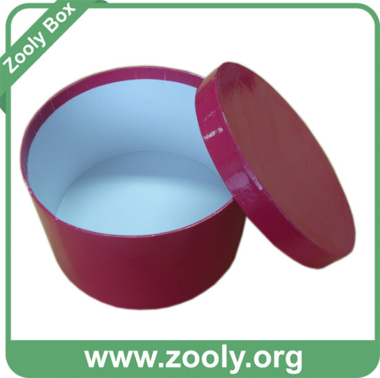 China Round Paper Gift Box With Lid Red Printed Hat Box Zh003