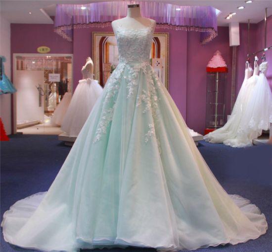 Blue Lace Organza Evening Bridal Prom Women Dress