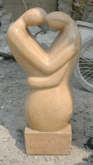 Pink Marble Lover Sculpture, Man and Wamon Fall in Love Sculpture, Stone Carving Art Works, Decoration
