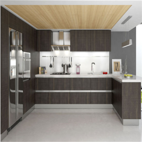 Plywood Kitchen Cabinet With Refrigerator Cabinet For American House  Furniture