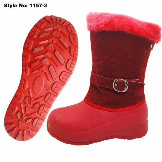 Red MID-Calf EVA Women Winter Snow Boot with Fur pictures & photos