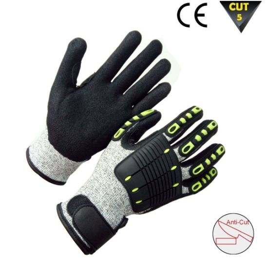 Cut and TPR Impact Resistant Anti Vibration Work Safety Gloves