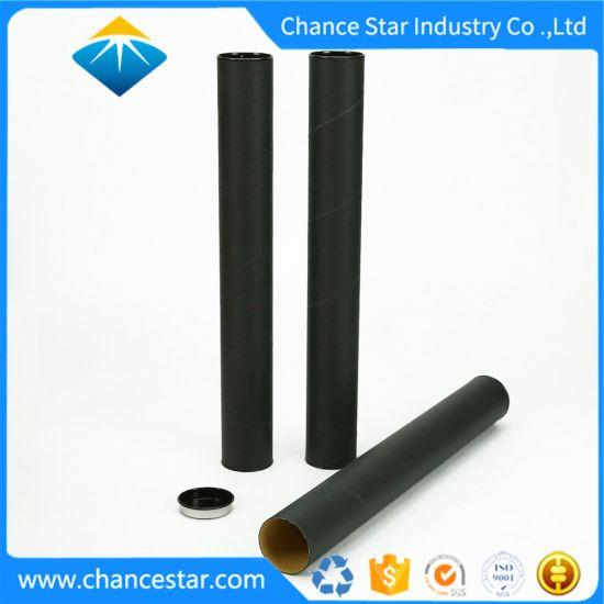 Custom Metallic Lid Matte Black Paper Cardboard Tube