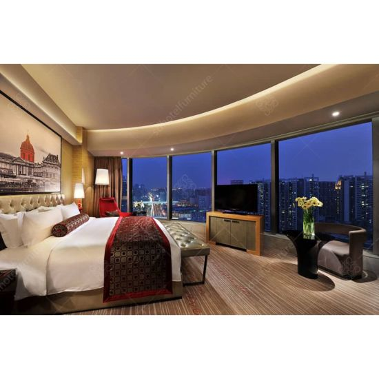 5 Star Hotel Furniture High End Bedroom Suite With Wooden Panel
