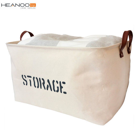 Sturdy Lightweight Cotton Receive Baskets Collapsible Canvas Storage Bins  For Toys Kids Pets Laundry