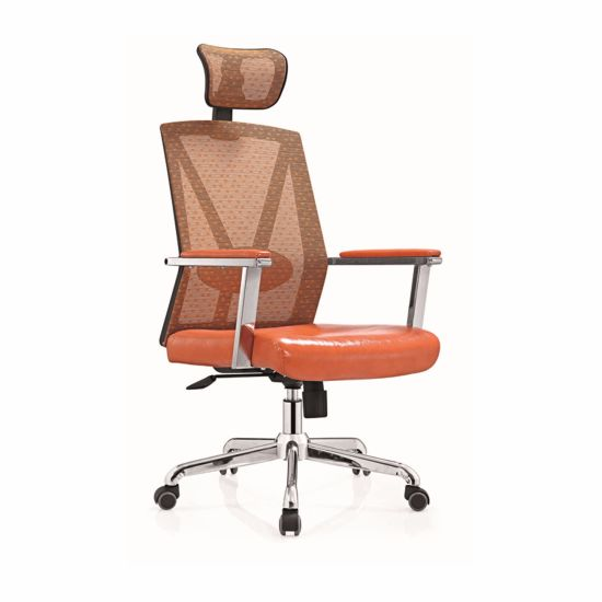 Orange High Back Mesh Fabric Metal Swivel Executive Armrest Chair