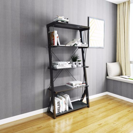 Simple Easy Style Modern Temered Glass Metal Office Bookshelf