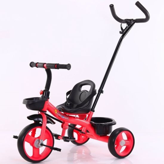 2 in 1 Baby Tricycle Ride on Toy for Kids with Pushbar