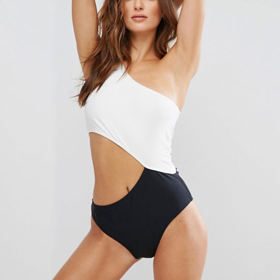 Women Fashion Black & White Asymmetric Neck One-Piece Swimsuit Swimwear