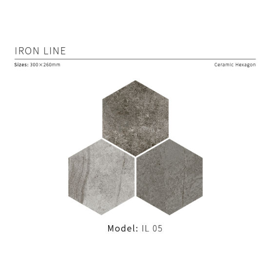 Limestone Look Glazed Hexagon Floor & Wall Tile 300X260mm (IL 05)