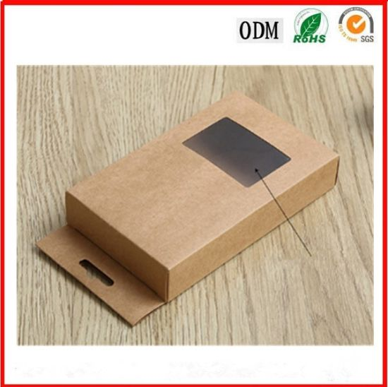 china kraft paper sock packaging pvc window box with plastic window