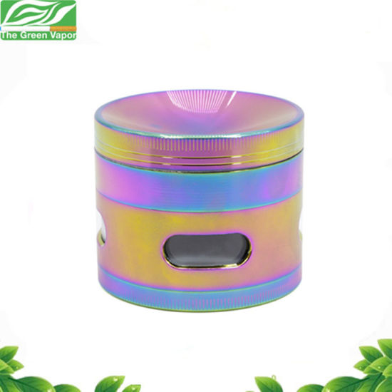 4 Layers Rainbow Herb Grinder Smoking Weed Tobacco Side Window Concave Smoke Crusher pictures & photos