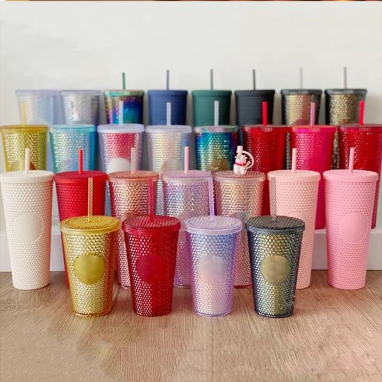 Studded Tumbler Reusable Matte Cold Coffee Cola Cup with Lid & Straw No MOQ Factory
