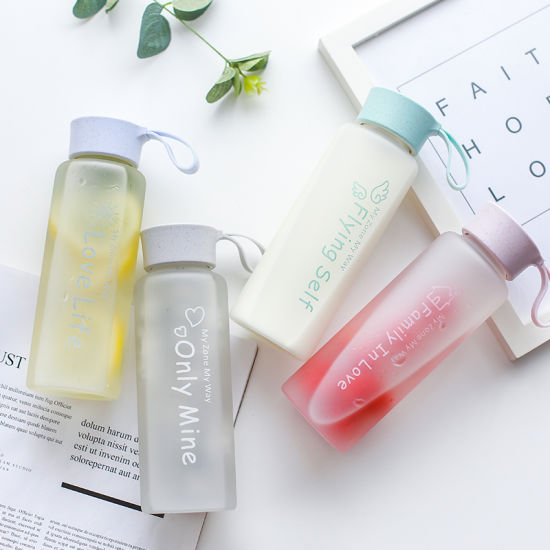 China Top Glass Material Water Bottle Promotion Eco Drink Bottle in Literary Style and Beautiful Color