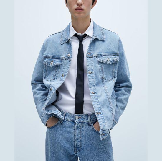 Wholesale Custom Wish Denim Lapel Jacket Fashion Men's Coat Casual Long Sleeve Jackets