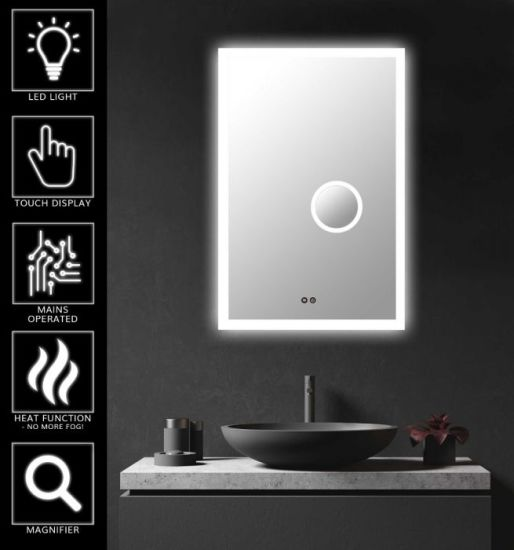 Jinghu Wall Mounted Metal Chasis UL Ce Approved Bathroom Dining Room Full Length Wall LED Mirror with Magnifier