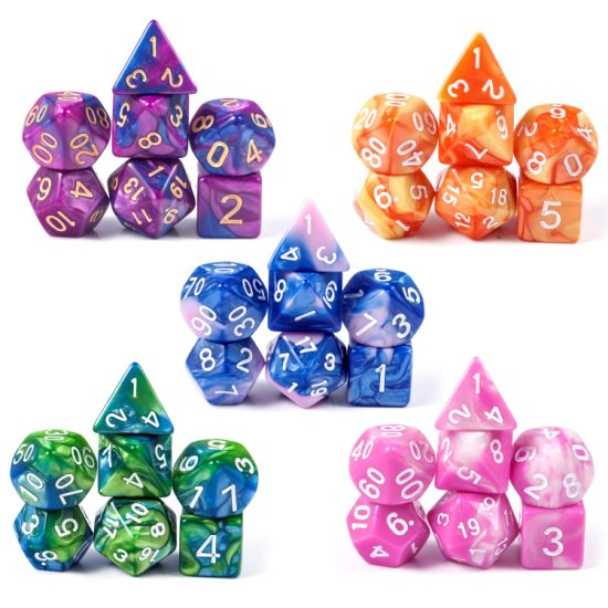 Customized Dice Sets, 5*7PCS Dungeons and Dragons Dice with Free Pouch Pole Playing Games
