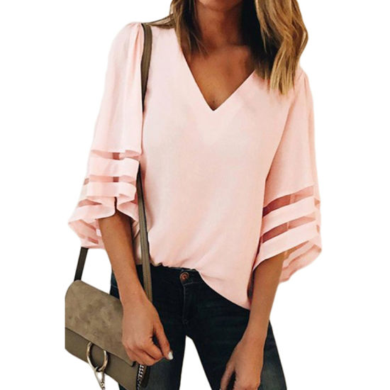 Fashion Women Black Flare Sleeve V Neck Loose Blouse pictures & photos