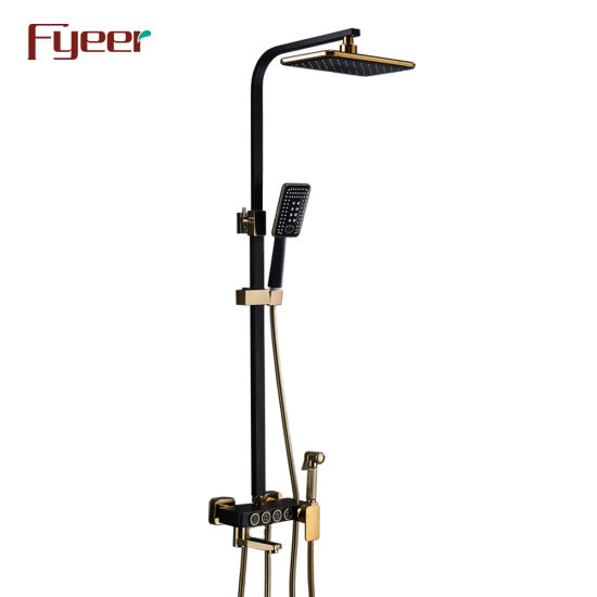 Fyeer Luxury Black Painted Multifunction Sliding Shower Column Set with Bidet Sprayer