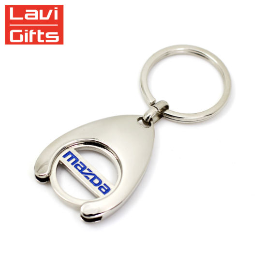 Promotional Custom Shopping Cart Metal Token Trolley Coin Holder Keychain