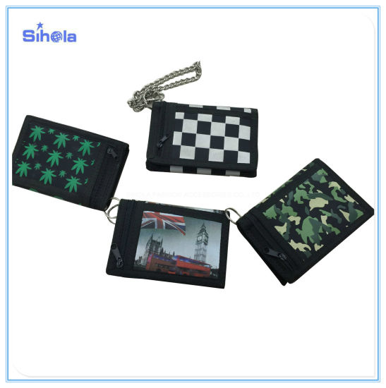 Chessboard Grid Black and White Velcro Buckle Wallet