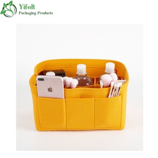 Wholesale New Design Felt Storage Bag Organizer Women Cosmetic Bag and Portable Lady Makeup Bag for Household and Travel