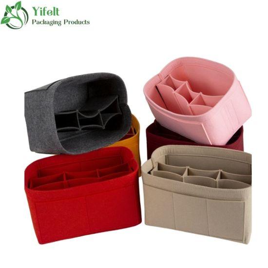 Ladies's Felt Purse Cosmetic Bag Insert Organizer Tote Bag with Zipper Wholesale
