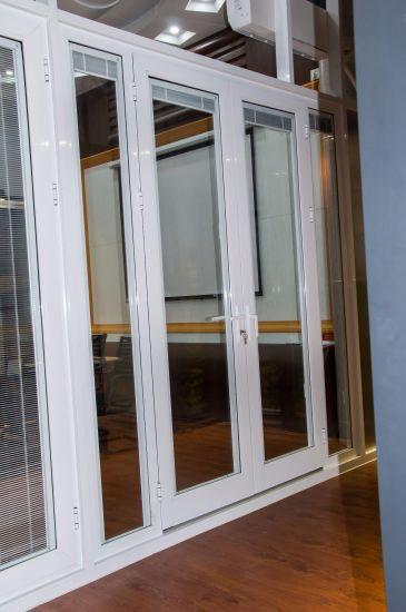 Customized Aluminium Doors Glass Door French Door with Built-in Blind