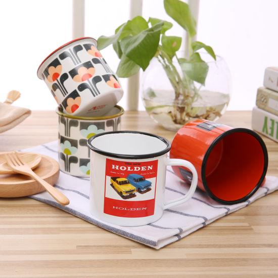 6/7/8/9/10/11/12/14/15cm Good Quality Steel Rim Customized Decals Enamel Mugs