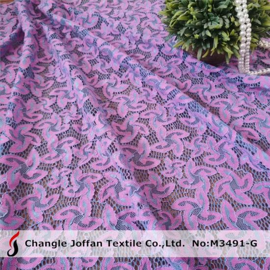 Clothing Material Cotton Cord Lace Fabric Elastic Stretch Textile Lace (M3491-G)