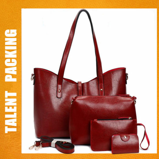 Red Fashion Designs 2018 PU Leather Women Tote Handbag Set. Get Latest Price 1c052258cec8f
