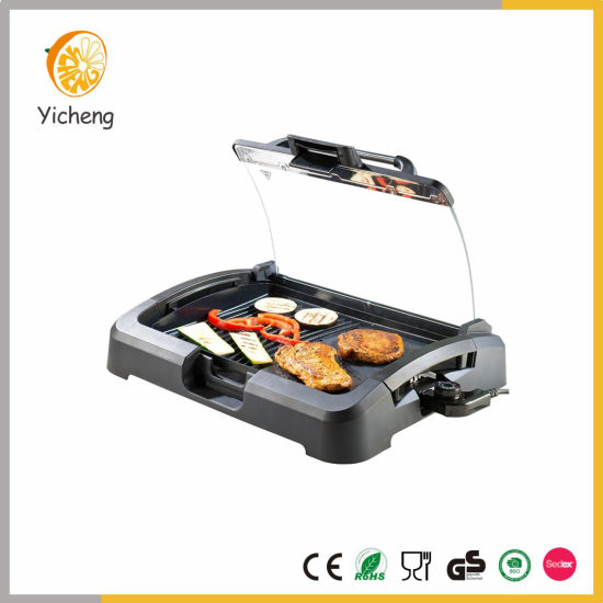 1200W Electric Indoor 2 in 1 Table Grill BBQ Griddle Stainless Steel Handle with Glass Lid pictures & photos