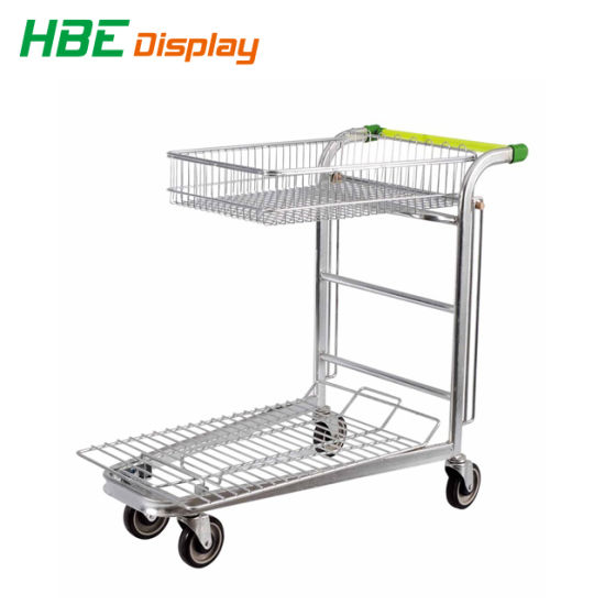 Warehouse Trolley Cart with Collapsible Basket pictures & photos