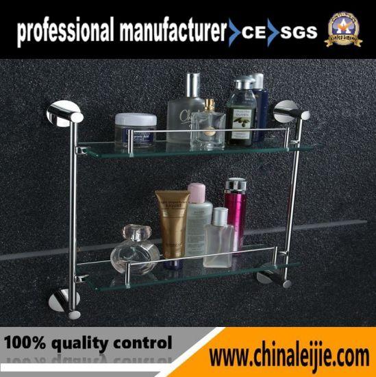 China Wall Mounted Elegant Double Layer Glass Shelf Bathroom ...