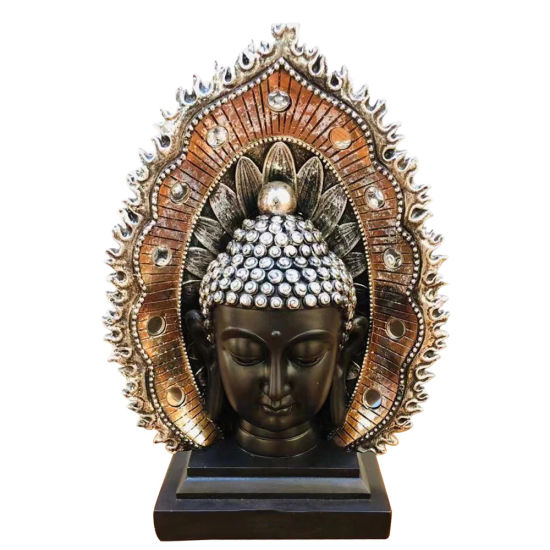 Home Fengshui Decor Resin Craft, OEM Buddha Head Statue with Halo and Base