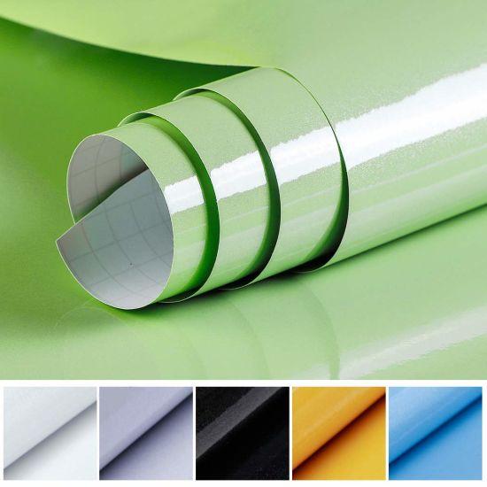 China Waterproof Pvc Vinyl Solid Color Green Self Adhesive Wallpaper Kitchen Wardrobe Cabinet Furniture Renovation Door Wall Stickers China Wall Stickers Self Adhesive Wallpaper