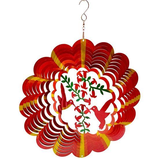 New Garden Decor Color Mandala Humminbirds Flower Laser Cut 3D Stainless Steel Metal Wind Spinner