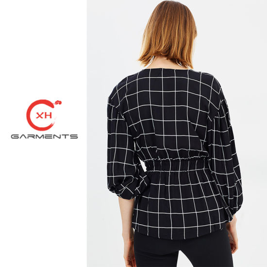 93970a5c842330 China Xh Garments Mono Check Ladies Long Tops - China Ladies Long ...