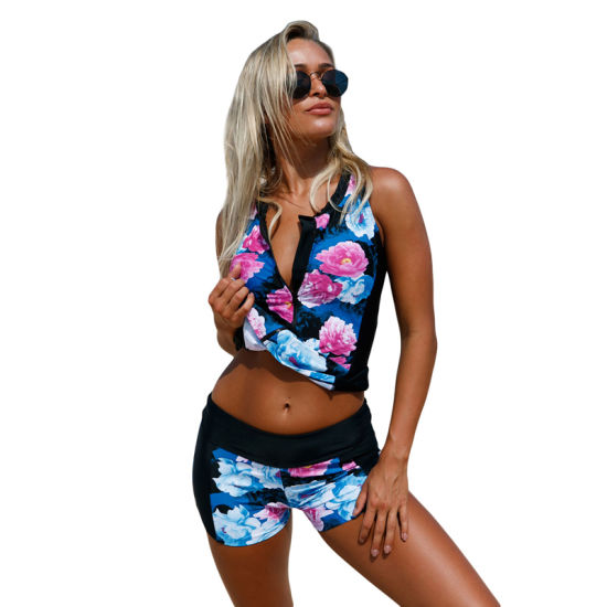 Women Elegant Floral Zip Front Sporty Tankini Two Piece Swimwear pictures & photos