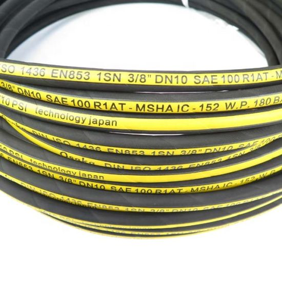 Enuo Industrial Flexible High Pressure Steel Wire Braided Hydraulic Fuel Oil Rubber Hose with Fitting Factory SAE 100 R 1at/1sn/R2at/2sn