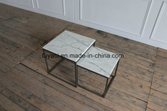 Small Solid Square Stainless Steel Base With White Marble Top Coffee Table Side