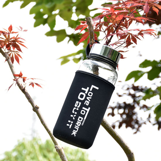 Wholesale 1000ml 750ml 550ml Portable Glass Water Bottle with Protective Bag Water Bottle Biodegradable with Custom Printing