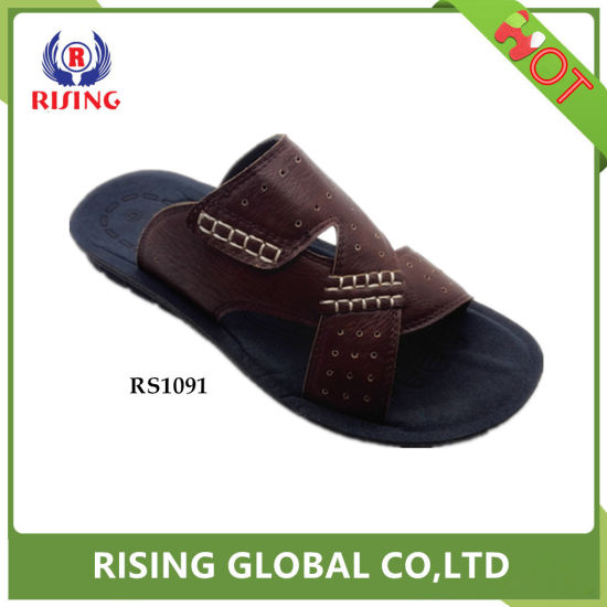 2018 Hot Sell Mens Durable Casual Beach Slippers in PU Sole