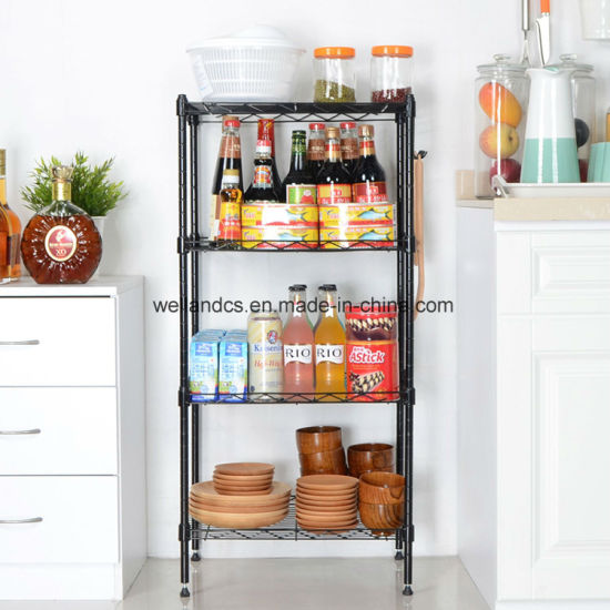 Space Saving 4 Tier Wire Shelving Rack Adjustable Metal Kitchen Storage  Shelf